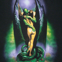 Boris Vallejo vintage rare T-shirt, black SCREEN STARS tee shirt, demon devil and naked woman with serpent snake, 1980s 80s
