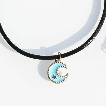 N850 Moon & Star Pendant Bijoux For Women Necklaces Fashion Jewelry Rope Chain Necklace Clavicle Colar