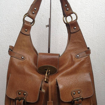 Heavy Leather Bag, Brown Leather Bag, Genuine Leather, Hobo Bag, Vintage Matras Purse, Big Shoulder Bag, Tote Bag With Zipper, Large Tote