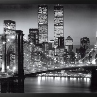New York Manhattan Black - Berenholtz Framed Poster 38 x 26in