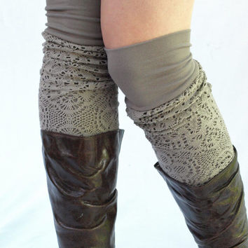 Moka bamboo knit leg warmers by RunSystem63 on Etsy