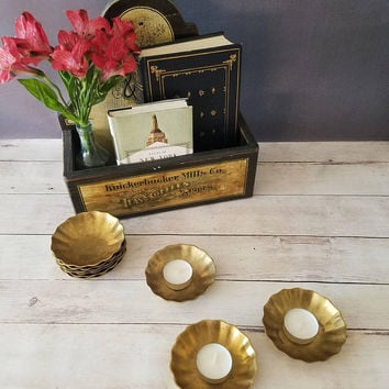 Brass tea light holder set/ Gold Wedding Decor/ Vintage Wedding decor/ Bohemian/ Brass Candle Holders/ Brass Candle Lot/ Brass Coasters