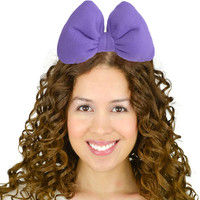 Poofy Minnie Mouse Hair Bow Headband in Purple