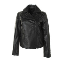 Marc by Marc Jacobs Womens Leather Asymmetric Motorcycle Jacket