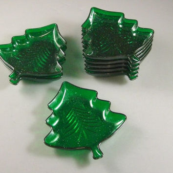 Cheesy Plastic Christmas Tree Dish LOT //  Candy Dish // Soap Dish // Yuletide Dish // Santa //  Serving // Barware