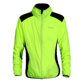 Men Women Polyester Reflective Windproof Long Sleeve Bike Bicycle Rain Jackets Outdoor Night Cycling Safety Sportswear Parts