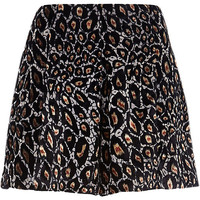 River Island Womens Brown animal print high waisted shorts