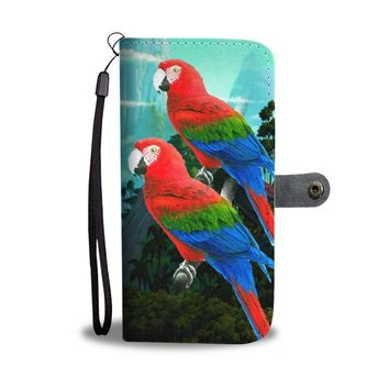 Amazing Red and Green Macaw Parrot Print Wallet Case-Free Shipping