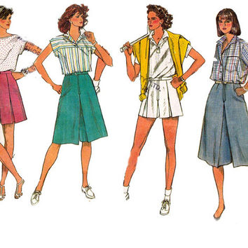 Womens Culottes Shorts Simplicity 7463 80s Vintage Sewing Pattern Size 16 Waist 30