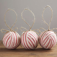 Candystripe Ticking - Set of 3 Red Ticking RagBall Ornaments