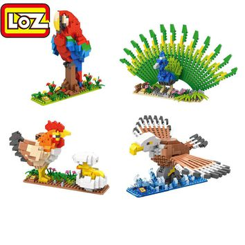 LOZ Diamond Block Birds C-3PO R2-D2 Hen Chicks Peacock Eagle Parrot Animal Micro Blocks 3D Educational Building Block Toys 9544