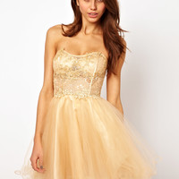 Forever Unique Lace Bandeau Prom Dress with Crystal Embellishment