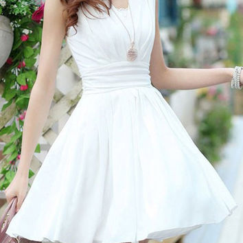 White Chiffon Skater Dress