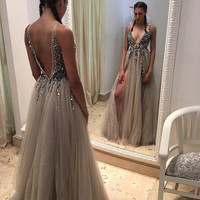 V Neck Pale Grey Prom Dress with Slits