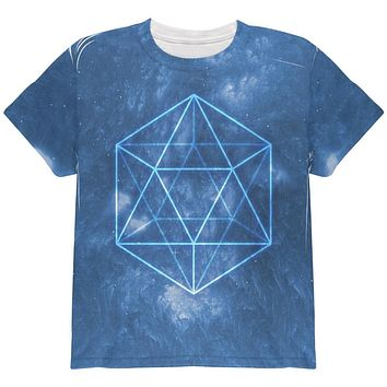 Sacred Geometry Icosahedron Crystal Wind All Over Youth T Shirt