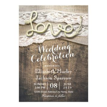 Rustic Country Love Rope Burlap Lace Barn Weddings Card