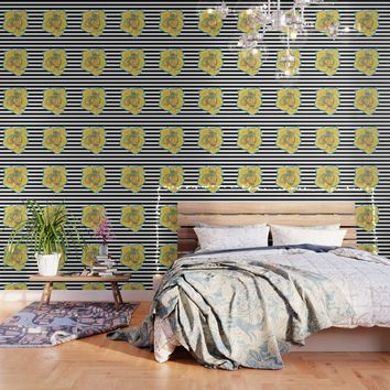 Yellow and Turquoise Rose on Stripes Wallpaper by drawingsbylam