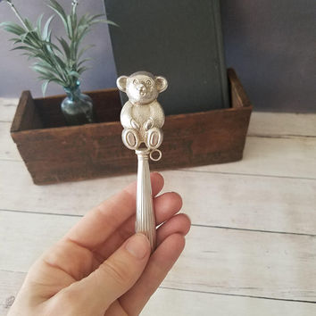 Sterling Silver Bear Rattle/ Antique Silver Baby Rattle/ Sterling Silver Rattle/ Baby's First Rattle/ Heirloom Baby Rattle/ Baby Bear