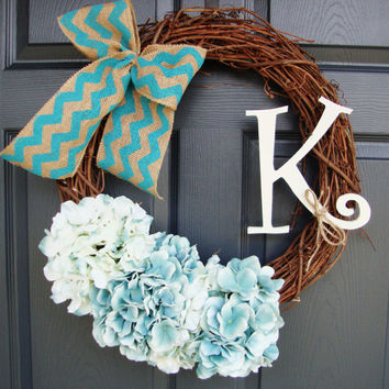 Monogram Wreath - Hydrangea Wreath - Grapevine Wreath- Year Round Wreath - Spring Wreath - Front Door Wreath - Chevron Bow Wreath