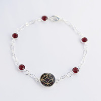 Le Mystere - Black, gold, and red choisonne Asian washi bracelet - with siam red Swarovski crystals