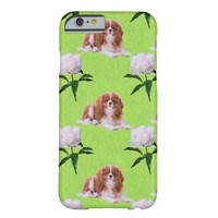 Cavalier King Charles And White Peony Iphone 6 Barely There iPhone 6 Case