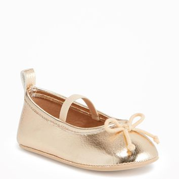 Gold-Metallic Ballet Flats for Baby | Old Navy