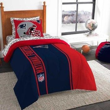 Licensed Official 5pc NFL New England Patriots Bedding Comforter Pillowcase Sheet Set Twin Size