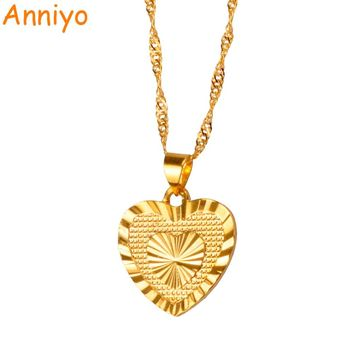 Anniyo 1.8cm Heart Pendant and Necklaces Romantic Jewelry Gold Color for Womens Girls Wedding Gift Girlfriend Wife Gifts #006110