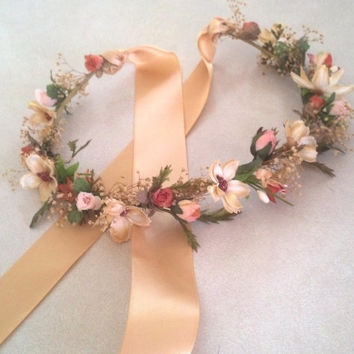 Bridal Flower crown Spring Woodland hair wreath circlet dried flowers garland Peach wedding accessories champagne headwreath Autumn