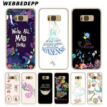 WEBBEDEPP Alice in Wonderland Anime Hard Transparent Phone Case for Galaxy S6 S7 Edge S9 S8 Plus S5 S4 S3 Cover