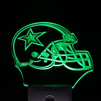 ws0015 Dallas Cowboys Helmet Day/ Night Sensor Led Night Light Sign