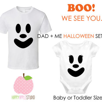 Dad and Me Halloween Shirt Set, Ghost Face Baby or Toddler Shirt, First Halloween Baby and Dad Shirt Set, Cute Ghost, Boy Ghost, Girl Ghost