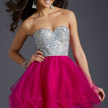 Strapless Beaded Dress by Clarisse