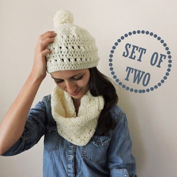 FREE SHIPPING Custom color Hat and scarf set Ivory hand knitted hat and scarf Soft and warm wool cowl Wool women ski hat Pom pom beanie