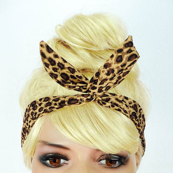 Dolly Bow Headband Cheetah Hair Accessory Wire Headband Flexible Girl Headband Top Knot Bandana Dolly Bows Wire Head Bands Pinup Headband