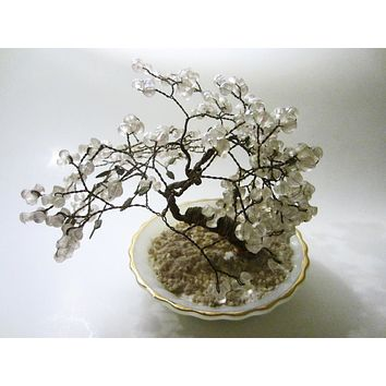 Crystal Tree In Anchor Hocking Fire King Gold Rim White Glass Bowl Made In USA