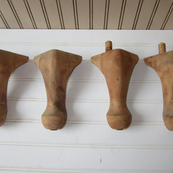Set of 4 Wooden Table Legs Queen Anne Style