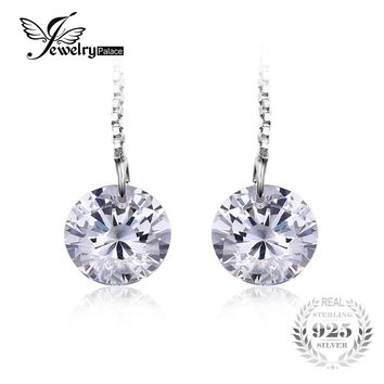 JewelryPalace 925 Sterling Silver 6.4ct AAA Long Earrings For Women 8*8mm Round 2016 Fashion Earrings Accessories