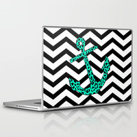 Mint Leopard Anchor Laptop & iPad Skin by M Studio