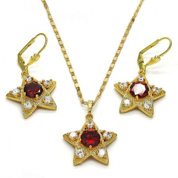 Gold Layered 10.236.0014 Necklace and Earring, Star Design, with White and Garnet Cubic Zirconia, Polished Finish, Golden Tone