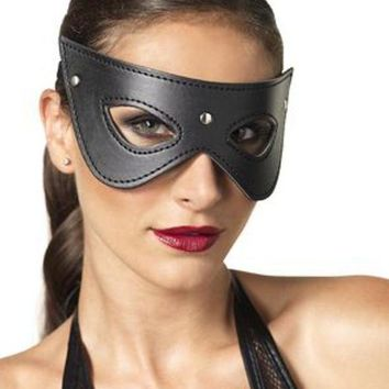 VONE5FW Faux leather studded fantasy eye mask in BLACK