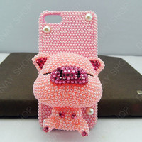 iphone 5 case Lovely  pig pink case bling bling pear iphone 4 case iphone 4s case 3D case HTC case sumsang case