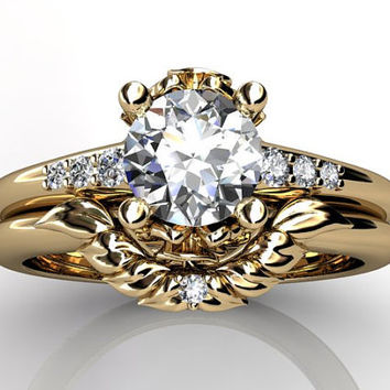 14k yellow gold diamond unusual unique floral engagement ring, wedding ring, engagement set ER-1052-2