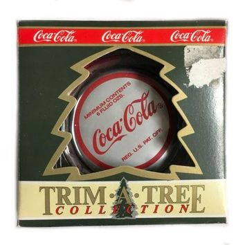 Coca Cola Bottle Cap Trim a Tree Christmas Ornament Santa Wiping Forehead, New