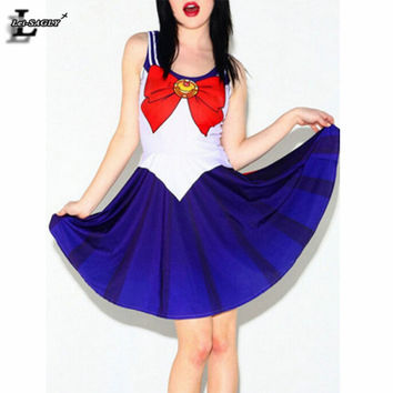 Summer Style 2017 Red Bow Tie Clothing Sailor Moon Elegant Casual Skater Dresses Sleeveless Lady Sexy Loose Vestidos BL-552