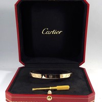 Authentic Authentic CARTIER LOVE 18K Y/G BANGLE size 18 w/ Papers - B3581