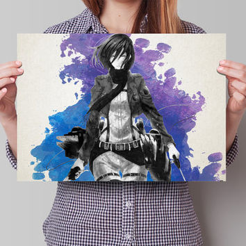 Mikasa Ackermann  Attack on Titan AoT SnK Anime Manga Watercolor Poster Print Art Wall Decor Gift  no300
