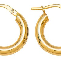 14k Yellow Gold Classic High-Polish Hoop Earrings (3mm Thick)