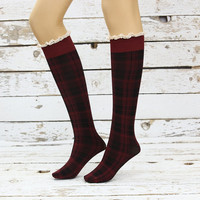 Soft Knee Highs Claret ret - Black lace socks sexy leg warmer girly boot socks boot cuffs women's accessory birthday gifts knee socks