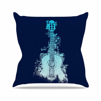 "Frederic Levy-Hadida ""Nature Tune - Blue"" Aqua Music Throw Pillow"